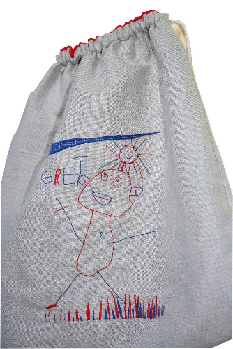 dessin Gret brodé sur un pochon fait main
